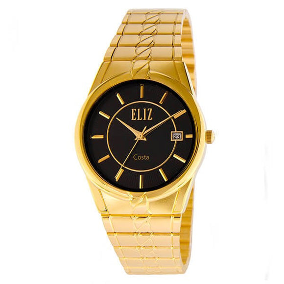 Eliz Men's Black dial Gold plated case and band Analog ES8569 GNG Watch