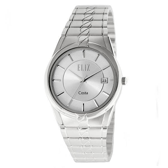 Eliz Men's White Dial Silver plated case and band Analog ES8569 SWS Watch