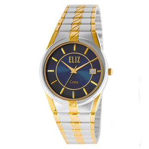 Eliz Men's Blue Dial Gold and Silver plated case and band Analog ES8569 TBT Watch