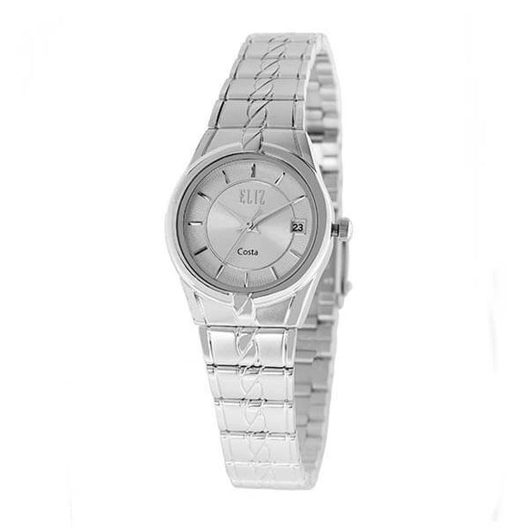 Eliz Women's White Dial Silver plated case and band Analog ES8569L2SWS Watch