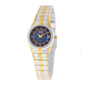 Eliz Women's Blue Dial Gold and Silver plated case and band Analog ES8569L2TBT Watch