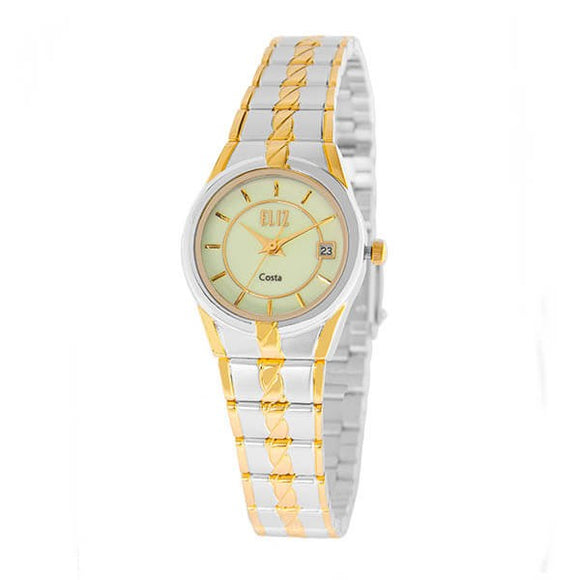 Eliz Women's Luminous Dial Gold and Silver plated case and band Analog ES8569L2TLT Watch