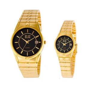 Eliz Men's and Women's Black dial Gold plated case and band Analog ES8569 GNG Pair Watches