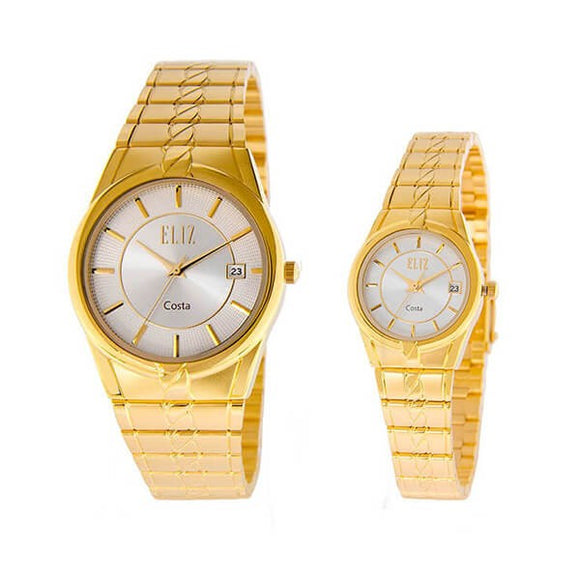 Eliz Men's and Women's White dial Gold plated case and band Analog ES8569 GWG Pair Watches
