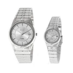 Eliz Men's and Women's White dial Silver plated case and band Analog ES8569 SWS Pair Watches