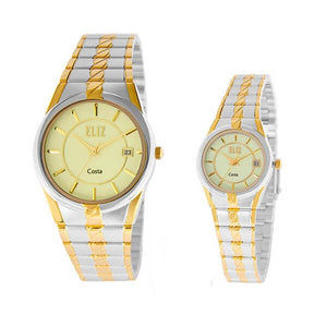 Eliz Men's and Women's Champagne dial Two-Tone Gold and Silver plated case and band Analog ES8569 TCTPair Watches
