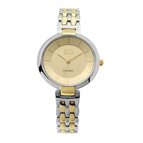Eliz Women's Champagne Dial Two-Tone Gold plated stainless steel case and Band Analog Watch ES8606L2TCT