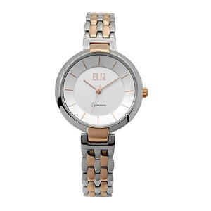 Eliz Women's White Dial Two-Tone Rose Gold plated stainless steel case and Band Analog Watch ES8606L2UWU 1