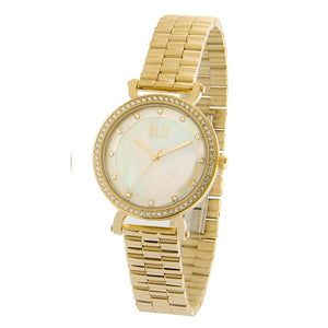 Eliz Women's White Mother of pearl Dial Gold plated stainless steel case and Band Analog Watch ES8617L1GHG