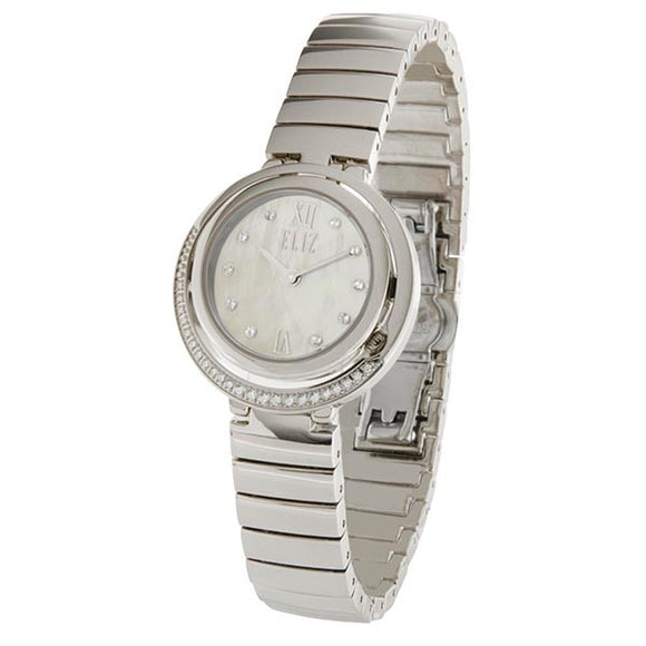 Eliz Women's White Mother of pearl Dial stainless steel case and Band Analog Watch ES8620l2SHS
