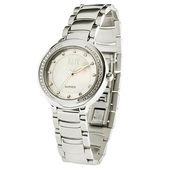 Eliz Women's White mother of pearl Dial Austrian crystal stainless steel case and Band Analog Watch ES8625L1SHS