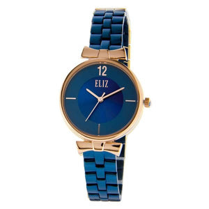 Eliz women's Blue Dial Rose Gold plated stainless steel case and band analog Watch ES8628L2RBB