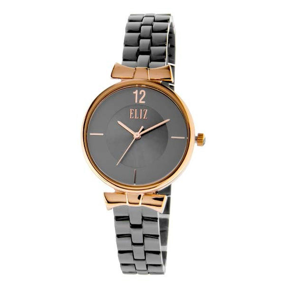 z women's Grey Dial Rose Gold plated stainless steel case Gun metal plated stainless steel band analog Watch ES8628L2RGG