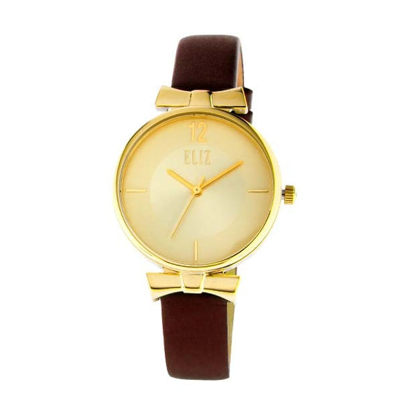 Eliz women's Champagne Dial Gold plated stainless steel case Brown genuine leather strap analog Watch ES8629L1GCO 1