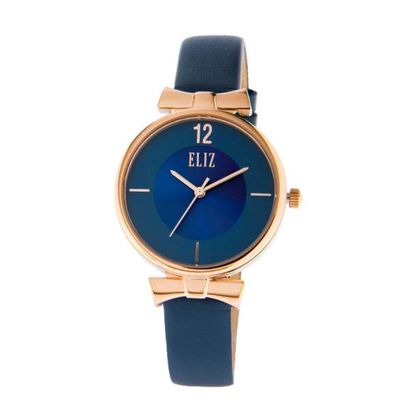 Eliz women's Blue Dial Rose Gold plated stainless steel case Blue genuine leather strap analog Watch ES8629L1RBB 1