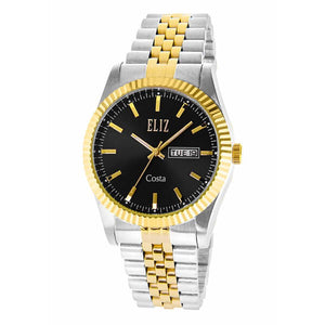 Eliz Men's Black Dial Two-Tone Gold plated case Metal Band Analog Watch ES8630G2TNT