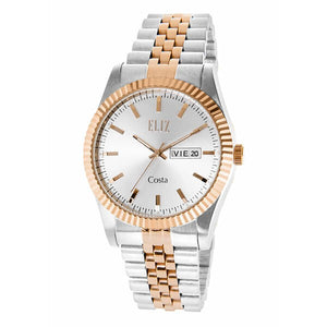 Eliz Men's Silver Dial Two-Tone Rose Gold plated case Metal Band Analog Watch ES8630G2USU