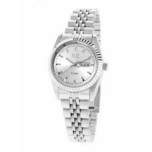 Eliz Women's Silver Dial Steel case Metal Band Analog Watch ES8630L2SSS