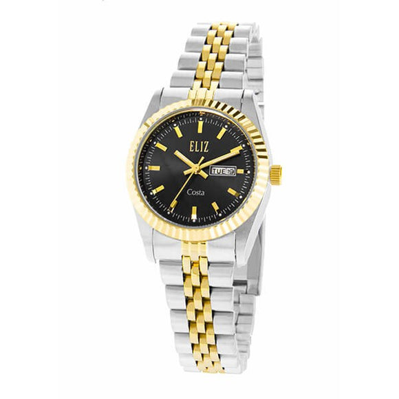 Eliz Women's Black Dial Two-Tone Gold plated case Metal Band Analog Watch ES8630L2TNT