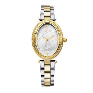 Eliz women's White Dial Two-Tone gold plated stainless steel case and Band Analog Watch ES8631LTWT 1