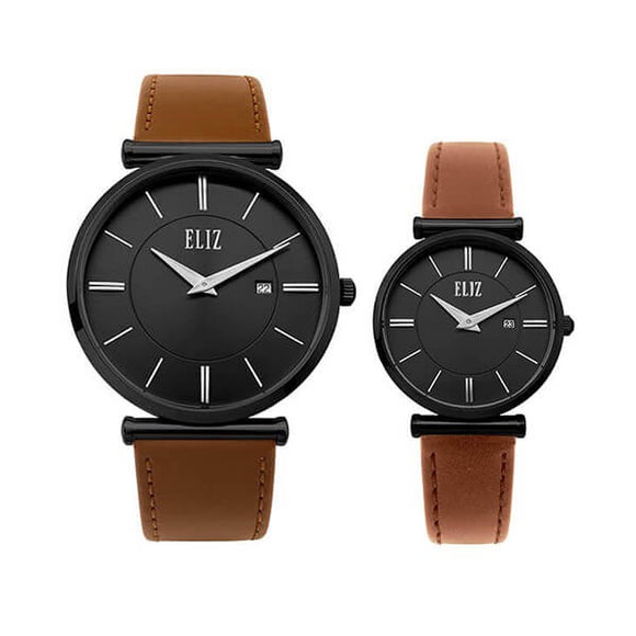Eliz Men's and Women's Black Dial Black Plated stainless steel case Tan genuine leather  8634 NND Pair Watches