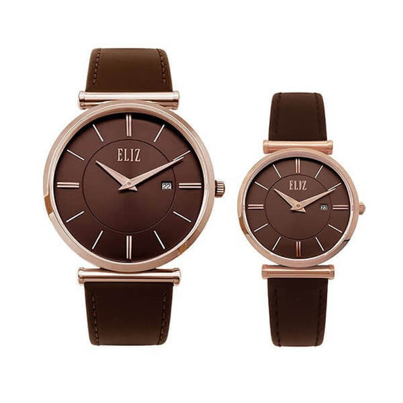Eliz Men's and Women's Brown Dial Rose Gold Plated stainless steel case Brown genuine leather  8634 ROO Pair Watches