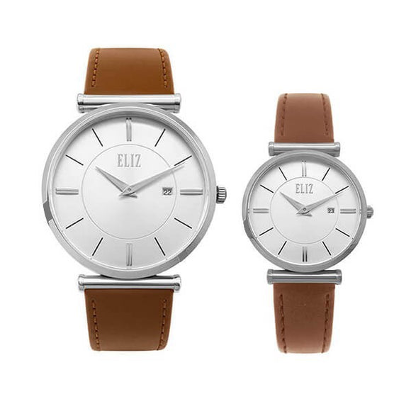 Eliz Men's and Women's White Dial stainless steel case Tan genuine leather  8634SWD Pair Watches
