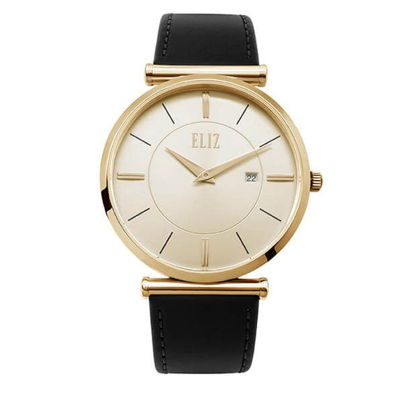 Eliz Men's Champagne Dial Black Genuine Leather strap Gold plated Steel case Watch ES8634G1GCN 1