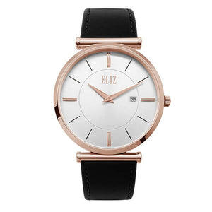 Eliz Men's White Dial Black Genuine Leather strap Rose Gold plated Steel case Watch ES8634G1RWN 1