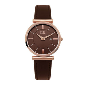 Eliz Women's Brown Dial Brown Genuine Leather strap Rose Gold plated Steel case Watch ES8634L1ROO 1
