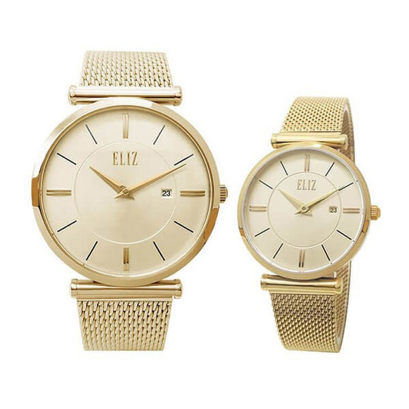 Eliz Men's and Women's Champagne Dial Gold plated stainless steel case and mesh Band Analog 8634GCG Pair Watches