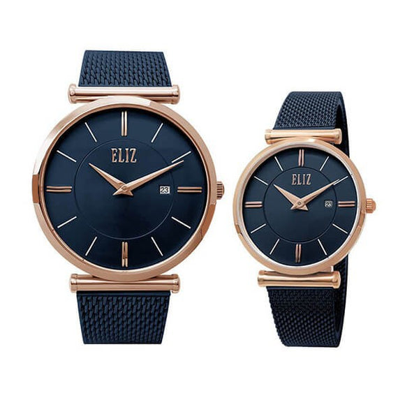 Eliz Men's and Women's Blue Dial Rose Gold plated stainless steel case Blue Plated mesh Band Analog 8635RBB Pair Watches