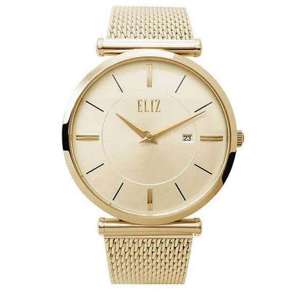 Eliz Men's Champagne Dial Gold plated Stainless Steel Case and Mesh Band Watch ES8635G1GCG 1