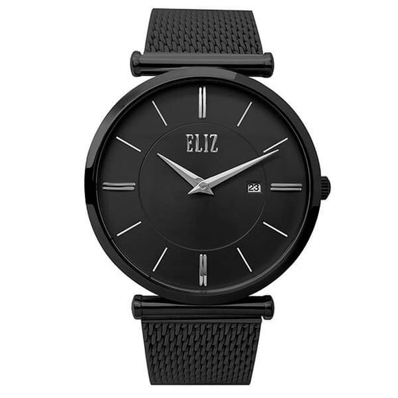 Eliz Men's Black Dial Black plated Stainless Steel Case and Mesh Band Watch ES8635G1NNN 1