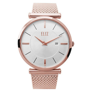 Eliz Men's White Dial Rose Gold plated Stainless Steel Case and Mesh Band Watch ES8635G1RWR 1