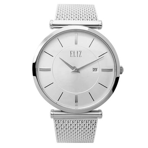 Eliz Men's White Dial Stainless Steel Case and Mesh Band Watch ES8635G1SWS 1