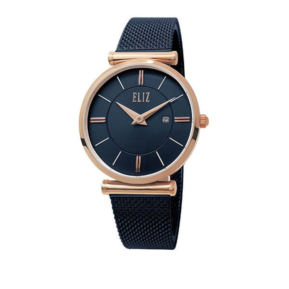 Eliz Women's Blue Dial Rose Gold Stainless Steel Case Blue Mesh Band Watch ES8635L1RBB 1