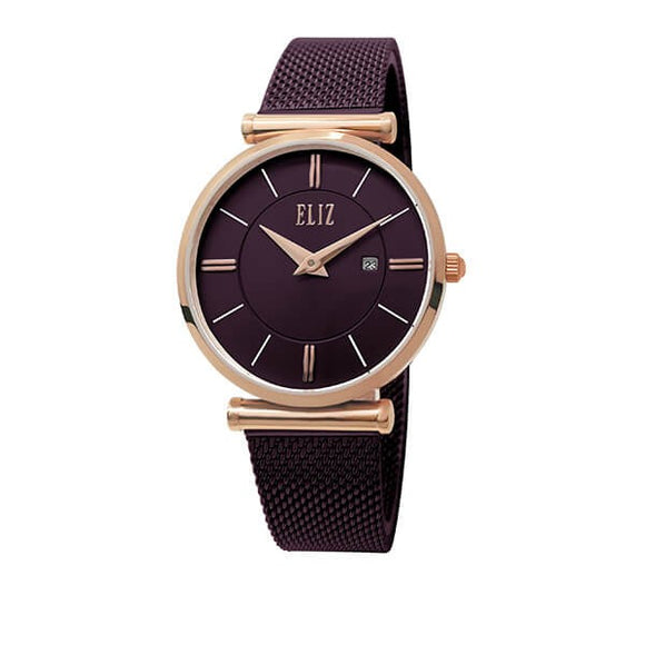 Eliz Women's Purple Dial Rose Gold plated Stainless Steel Case Purple Mesh Band Watch ES8635L1RVV 1