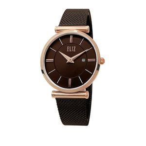 Eliz Women's Brown Dial Rose Gold plated Stainless Steel Case Milanese Mesh Band Watch ES8635L1ROO 1