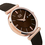 Eliz Women's Brown Dial Rose Gold plated Stainless Steel Case Milanese Mesh Band Watch ES8635L1ROO 2