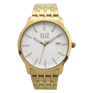 Eliz Men's White Dial Gold plated Stainless Steel Case and Band Watch ES8638G2GWG 1