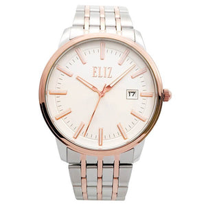 Eliz Men's White Dial Two-Tone Rose Gold plated Stainless Steel Case and Band Watch ES8638G2UWU 1