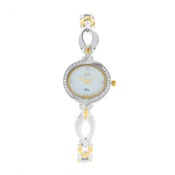 Eliz Women's Mother of pearl Dial Two-Tone Gold plated Stainless Steel Case Bracelet Band Watch ES8639L2THT