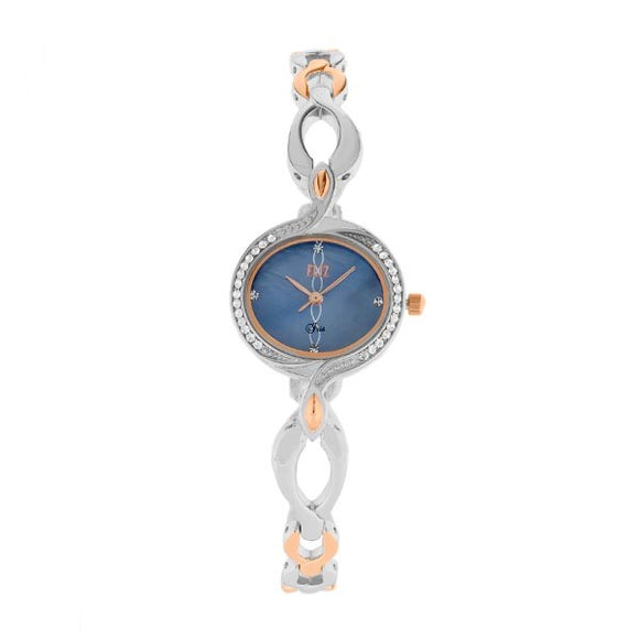 Eliz Women's Blue Mother of pearl Dial Two-Tone Rose Gold plated Stainless Steel Case Bracelet Band Watch ES8639L2UKU
