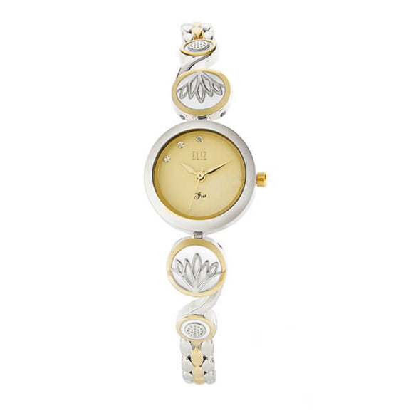 Eliz Women's Champagne Dial Two-Tone Gold plated Stainless Steel Case Bracelet Band Watch ES8641L2TCT 1