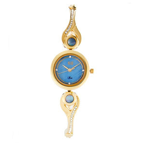 Eliz Women's Blue mother of pearl Dial Gold plated Stainless Steel Case Bracelet Band Watch ES8642L2GKG 1
