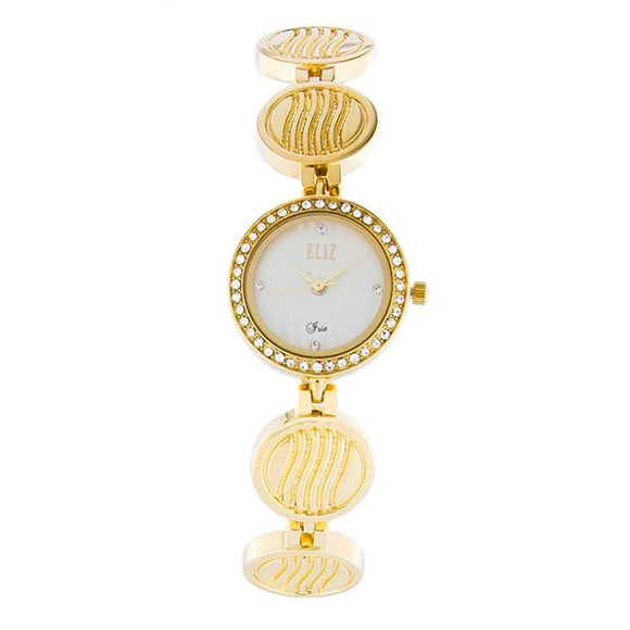 Eliz Women's White Dial Gold plated Stainless Steel Case Bracelet Band Watch ES8643L2GWG