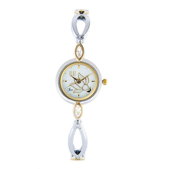 Eliz Women's White Dial Two-Tone Gold Plated Stainless Steel Case Bracelet Band Watch ES8645L2TWT