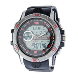 Eliz Men's Black Dial silver case Black polyurethane Band Analog-Digital Watch  ES8648G8MNN