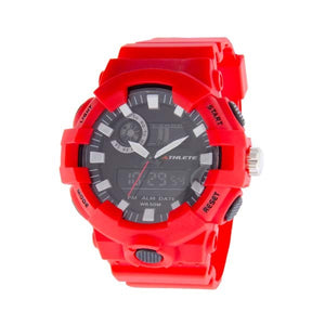 Eliz Men's Black Dial Black case Red polyurethane Band Analog-Digital Watch  ES8650G8RNR